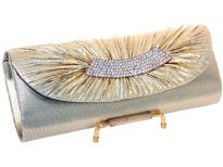 Satin Evening bag Embellished with Rhinestones strip. Magnetic snap button closing. Metal shoulder chain included.