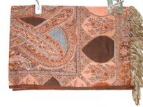 100% Pure Wool Jamawar Shawl in shades of brown & peach. Imported.