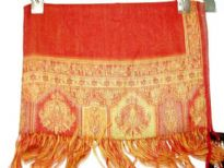 100% Pure Wool Jamawar Shawl in Red color with artistic pattern in gold color on the border. Threads like fringes on the ends of the shawl. Imported.