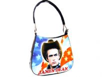 James Dean single Handle Bag. The bag has top zipper closing.
