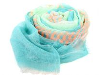 Orange stripes pattern this finely woven lightweight 100% polyester scarf. Light blue & sage colored sheer scarf is decorated with eyelash fringe all over it. Imported. Hand wash.