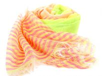 Yellow & pink horizontal stripes pattern flourish over this bright orange 100% polyester scarf. The sheer scarf has eyelash fringes all over it. Imported. Hand wash.