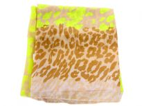 Add a pop of neon to your outfit with this lightweight scarf in 100% polyester. This semi sheer scarf features an allover leopard print in neon color with brown print towards the ends of the scarf. Hand wash. Imported.