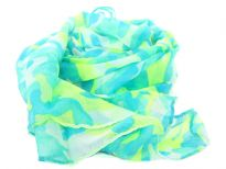 This army print polyester scarf in neon lime green with shades of blue can be teamed up with a dress or shirt to suit any occasion in any kind of weather. Imported. Hand wash.