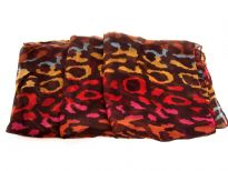 Semi-sheer brown polyester scarf with multi colored abstract print. Big size of the scarf makes it possible to be used as a shawl, wrap or scarf around the neck. Imported. Hand wash.