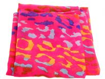 Semi-sheer hot pink polyester scarf with multi colored abstract print. Big size of the scarf makes it possible to be used as a shawl, wrap or scarf around the neck. Imported. Hand wash.