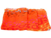 Semi-sheer orange polyester scarf with multi colored abstract print. Big size of the scarf makes it possible to be used as a shawl, wrap or scarf around the neck. Imported. Hand wash.