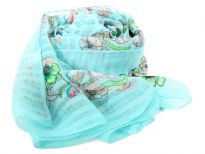 A garden of multi colored floral print blooms over this finely made 100% polyester scarf in light blue which is lightweight to use. It can be used all year around with any kind of outfit. Imported. Hand wash.