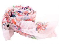 A garden of multi colored floral print blooms over this finely made 100% polyester scarf in white color which is lightweight to use. It can be used all year around with any kind of outfit. Imported. Hand wash.