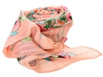 A garden of multi colored floral print blooms over this finely made 100% polyester scarf in peach pink which is lightweight to use. It can be used all year around with any kind of outfit. Imported. Hand wash.