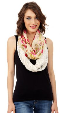 Floral pattern ivory colored lace patch adds textural contrast to this lightweight floral print Infinity Scarf which is soft & breathable to be used all year around.