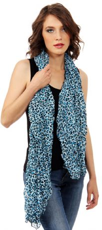 Leopard spots pattern this breezy crinkled  scarf for a double dose of on-trend appeal. Two tone leopard print over solid color background. Can be used in multiple ways with nay kind of outfit.