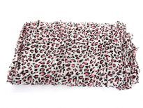 Leopard spots pattern this breezy crinkled  scarf for a double dose of on-trend appeal. Two tone leopard print over solid color background. Can be used in multiple ways with any kind of outfit.