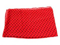 Small polka dots decorate this bright colored 100% polyester scarf which can be used all year around in number of possible ways.