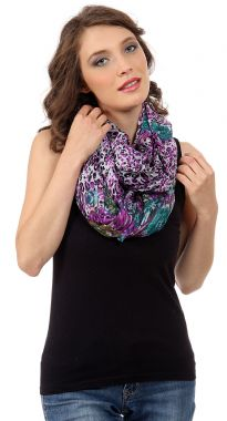 Leopard & Floral Print in Multi Colors Polyester Infinity Scarf which is stylish & lightweight to use all year around. Matches with any kind of outfit. Can be wrapped twice around the neck.