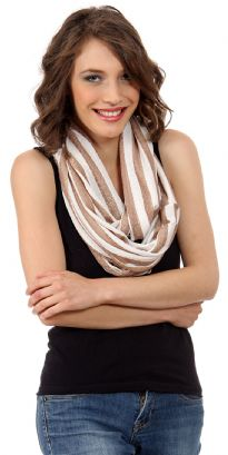 Top off your look with this edgy texture infinity scarf which has lace-like stripes adding visual depth and the neutral hues make it easy to pair with any kind of outfit. Lightweight & soft to use all year around.