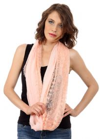 Mesh panel in the middle along its circumference with lace on sides of this fringe framed infinity scarf which is soft & breathable to use all year around. Floral embroidery on mesh panel gives that feminine charm to this semi-sheer scarf.