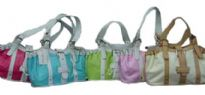 Fashionable bag for ladies with belt like double handle. Belt like accent in the front & top zipper closure.