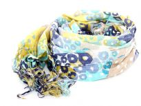 Circular print in shades of blue & yellow over off-white base of this yarn dyed viscose scarf. Imported. Hand wash. Imported.