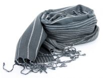 Grey colored yarn dyed 100% viscose scarf with white stripes running through it vertically. Thin twisted fringes on the ends of this comfy scarf. Imported.