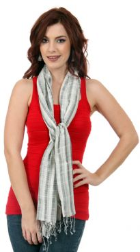 Loosely knitted yarn dyed viscose scarf in vertical stripes pattern in grey, white & black colors. Lightweight scarf has twisted fringes at its edges. Imported. Hand wash.