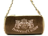 "Suede Barrel Shape Fashion Handbag with ""princess of culture"" embroidery over it. PVC & chain twisted together make the shoulder strap. Top zipper closure."