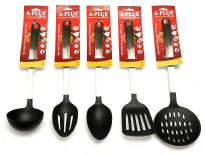 5 Piece Nylon Base with Stainless Steel (Matte) Handle Kitchen Tools Set. Cooking Utensil Serving Set Spatula Spoon Server