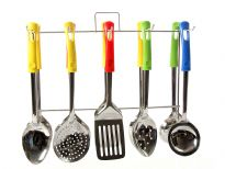 This is a set of 5 kitchen tools (in 4 colors). Basting spoon, basting spoon hole, skimmer, ladle and turner. The box has a total of 120 units (24 sets of 5 tools) with stainless steel display stand.