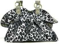 Animal Print Handbag in Velvet which is gathered close to the top of the bag. Spacious bag has double shoulder handle.