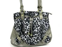 Animal Print Velvet Handbag with double shoulder handle & patchwork in contrast PVC material. Belt accents on the corners of the bag & also has drawstring closure.