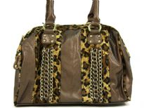 Shining PVC Shoulder bag with Leopard print patchwork with chain accents over them. Top zipper closure which has leopard print trim along it. Double shoulder handle.