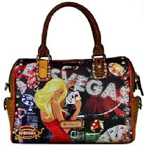 Las Vegas Satchel Handbag with Rhinestones. Top zipper closing.