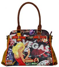 Las Vegas handbag with Rhinestones. Top zipper closing.