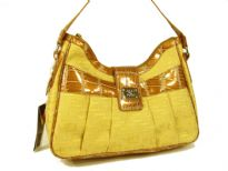 Overlap square print jacquard fashion handbag with patent leather patchwork, shoulder strap & top zipper closure. Pleated in front with clasp closure on the top. Imported.