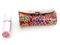 Genuine Leather hand painted 2 Lipsticks case