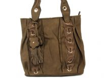 Faux leather double handle bag. Top zipper closing, inside side zipper pocket