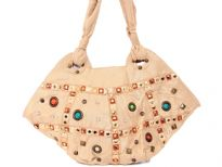 Stones studded fabric Handbag, Top zipper closing
