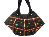 Stone Studded Fabric Handbag, Top zipper closing