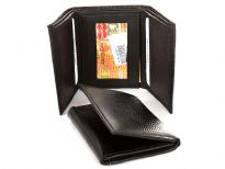 Genuine leather lizard embossed tri-fold men wallet