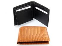 Carry your money in style. This is a Lizard embossed genuine cow leather bifold mens wallet. The outside shell is genuine cow-hide leather and the inside is faux leather. As this is genuine leather, please be aware that there will be some small creases and nicks in the leather but the wallet are all brand new.