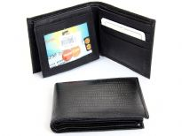 Lizard embossed genuine leather bi-fold men wallet.