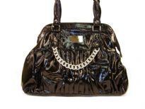 Designer Inspired Handbag with distress pattern and metal chain detail. Bag has a double handle and a top zipper closure. Made of PU (polyurethane).