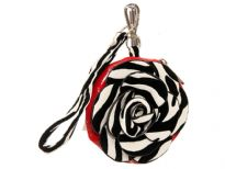 PVC Flower Wrist-let with animal print Floral applique in front & also the handle.