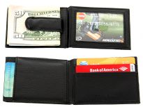 Carry your money in style. This is a man made leather money clip wallet featuring 4 credit card slots and one external ID window; flip open design. As this is genuine leather, please be aware that there will be some small creases and nicks in the leather but the wallet are all brand new.