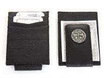 Carry your money in style. This is a Genuine Leather credit card holder and magnetic Money clip with metallic zinc concho cross design. As this is genuine leather, please be aware that there will be some small creases and nicks in the leather but the wallet are all brand new.