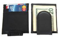 Carry your money in style. This is a leather (man-made) magnetic money clip wallet with 3 credit card slots. As this is genuine leather, please be aware that there will be some small creases and nicks in the leather but the wallet are all brand new.