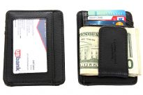 Carry your money in style. This is a man made leather magnetic money clip wallet featuring 3 credit card slots in the back, ID window and dual center pockets. As this is genuine leather, please be aware that there will be some small creases and nicks in the leather but the wallet are all brand new.