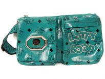 Printed PVC Betty Boop Licensed Waist Pouch with adjustable single strap. Made with PU(polyurethane) and zipper closures.