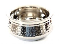 Stainless steel Double Wall 400 ml Hammered Moroccan Dish Bowl. Made in India.