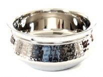 Stainless Steel 900 ml Double Wall Hammered Moroccan Dish Bowl. Made in India.